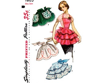 50s Women's and Misses' Aprons with Style and Trim Variations, One Size Simplicity 1805 Vintage Sewing Pattern Reproduction