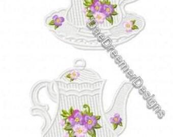 Tea Pot and cup lace ornament