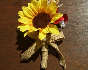 Sunflower Boutonniere with Red and White Flowers, Rustic Mens Lapel Pin, Sunflower Burlap Buttonhole Bloom