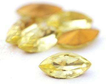 Vintage Jonquil Yellow 15x7mm Navette Navettes Glass Stones Jewels Gems, Czechoslovakia, Foiled Backs, (K1-R2-C2),Quantity 6