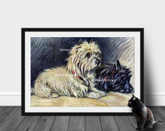 "Family Room Art, Living Room Art, Kitchen Art, Home Decor,  ""Footsteps"", Dog Art, Someone's Home, - Restored  Antique  Art  #165"