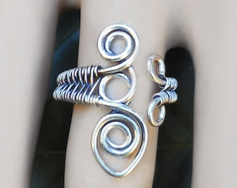 Silver boho ring. silver wire ring, bohemian rings, gypsy rings, unique silver ring, wire wrapped jewelry, size 5 ring, boho jewelry