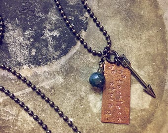 Be Fearless, Be Strong Pendant Necklace // As Seen On TV // bohemian arrow jewelry // hand stamped copper tag with gemstone bead // handmade