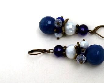 Maritime brass dangle gemstone earrings