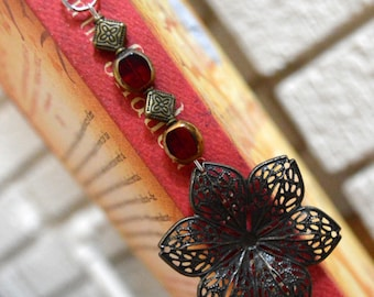 Red and Gold Flower Book Bling
