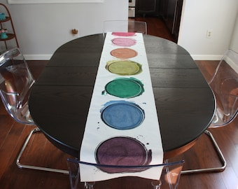 Watercolor Table Runner / Painting / Painter / Colorful Runner / Art Teacher Gift / Artist / Rainbow / Dining Room / Kitchen Decor