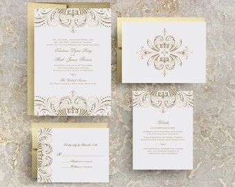 blush pink and gold invitations, gold and pink wedding invitations, blush pink and gold wedding invitations, printed, vintage, layered