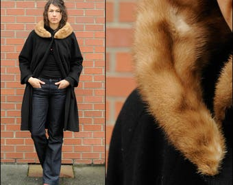 Medium, Long Wool Coat, Mink Collar Coat, Long Black Coat, Black Shift Coat, Black A Frame Coat, Fur Collar Coat, USA
