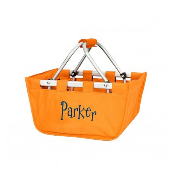 Orange mini Market tote picnic basket tote monogram basket tote personalized tote bag tailgate tote bag college dorm shower caddy basket