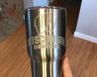 30oz Wisconsin Badgers Engraved Stainless Steel Thermos Yeti Rambler RTIC Tumbler Ozark Trail Gift Personalized