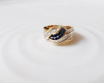 DIAMOND SAPPHIRE 18K Yellow Gold Vtg Ring Blue Clear Genuine Gemstone September April Birthstone Statement Band Estate Fine Jewelry