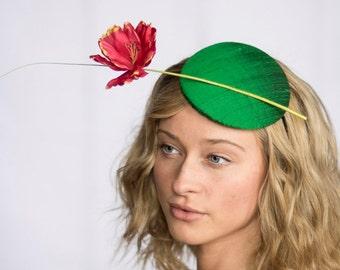 """Green Button Fascinator with Bright Red Handmade Silk Poppy Flower, """"Claudette"""""""