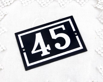 Vintage Traditional French Enamel House Number Plate Number 45 in Dark Blue with White Colored Numbers / Porcelain House Sign Retro Interior