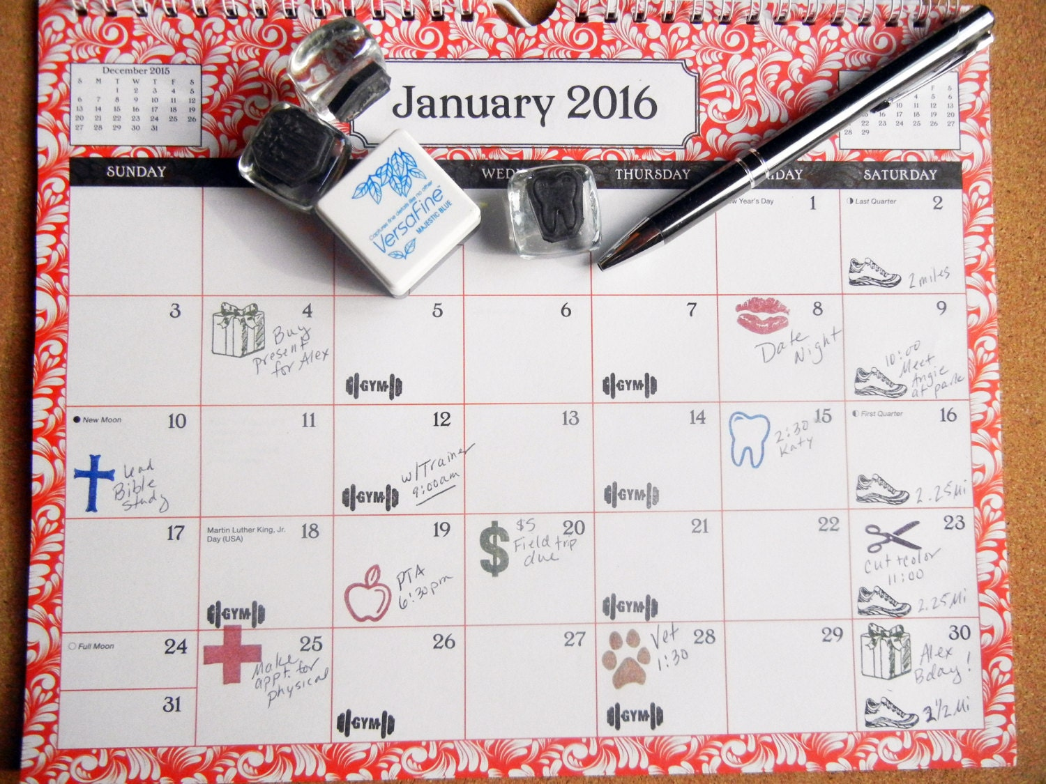 Calendar Sheet Rubber : Planner calendar appointment rubber stamps buy free