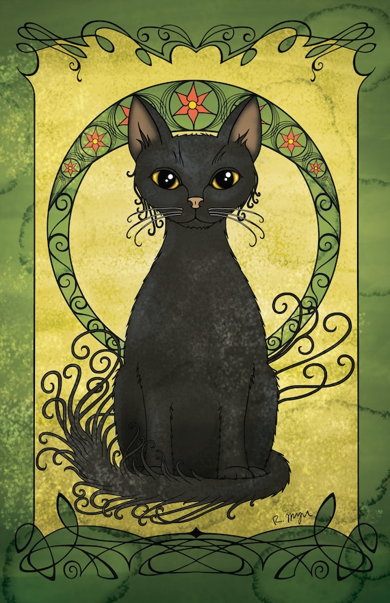 Art Nouveau Print Black Cat Poster Wall Decor Home Decor