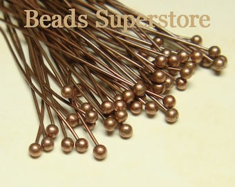 35 mm (1.38 Inch) Antique Copper-Plated Brass Ball End Head Pin - Nickel Free and Lead Free - 100 pcs (BP1AC)