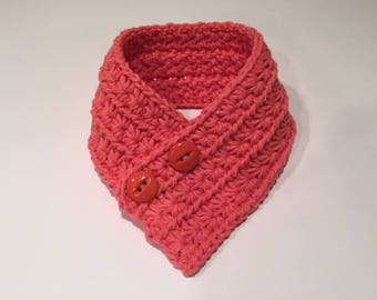 Crochet Dog Cowl Scarf for small dog, Tangerine