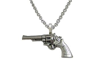 Modern Revolver Pistol Gun Necklace