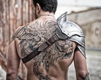 Steel Armor Pauldron Gladiator/Metal Shoulder/LARP Fantasy Armor/ handcrafted unique custom made
