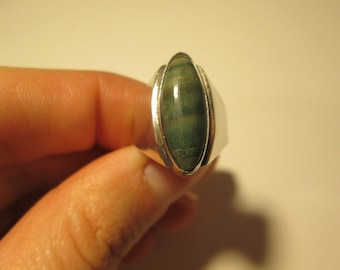 Mexico Sterling silver Vintage Jade ring, size 5