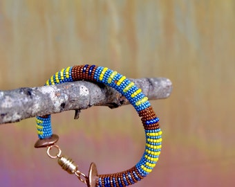 Blue and yellow Striped bracelet