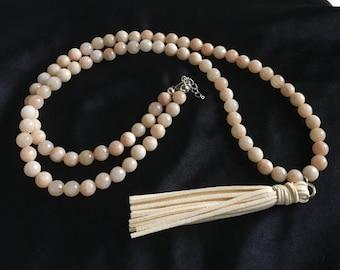 White howlite round bead cream long suede tassel long layering gemstone tassle necklace chain pendant