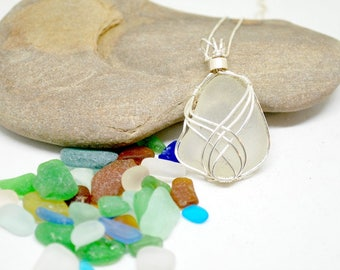 Sterling Sea Glass Necklace, Sea Glass Jewelry, Wire Wrapped Necklace, Sea Glass Gift, Lake Jewelry, Erie Beach Glass