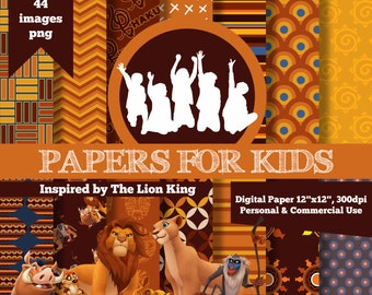 Digital Papers, The Lion King, Invitation, Clipart, Background, Papers for Kids