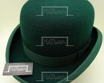 VINTAGE Wool Felt Formal Tuxedo Dura Bowler Top Hat - Green