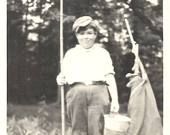 "Vintage Snapshot ""Let's Go Fishing"" Young Boy Bait Bucket Fishing Pole Canvas Tent Found Vernacular Photo"