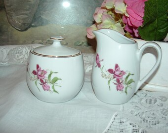 Vintage Fine China Creamer and Sugar with pink flowers
