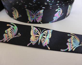 "Foil Butterflies on black Grosgrain Ribbon 22mm / 7/8"" wide x 1 meters"