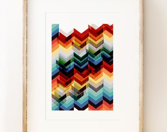 Multicolour Chevron abstract wall art print, graphic art print, geometric art