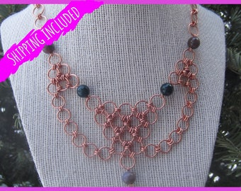 Copper Chain Mail Bib Necklace with Fancy Jasper
