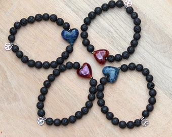 """ZenHappy """"Peace & Love"""" Lava Stone Stretch Bracelet with Handmade Lampwork Heart and Silver Peace Charm; Aromatherapy Diffuser Bracelet"""
