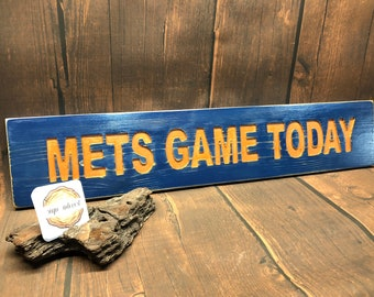 HAND CARVED/New York Mets Game Today Wood Sign/NY Mets Wooden Sign/Hand Carved Sign/Handmade Wooden Sign/Sports Sign/Baseball Wood Sign