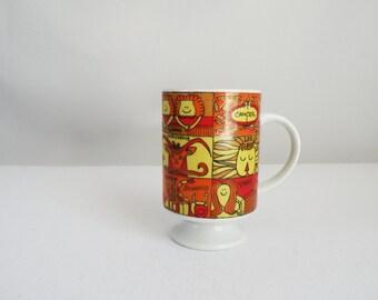 Orange Red Yellow Vintage Porcelain Horoscope Coffee Mug