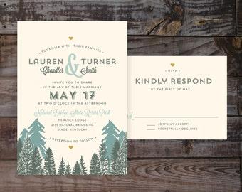 Rustic wedding invitations, printed wedding invites mountain wedding invitations, destination wedding invitations, outdoor wedding invites