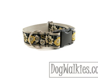 """Midnight in the Garden Dog Collar - 1.5"""" (38mm) Wide - Quick Release or Wide Martingale Dog Collar - Choice of collar style and size"""