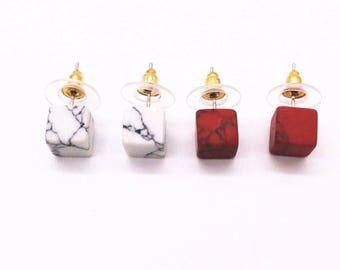 Square Gemstone Stud Earrings