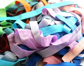 "Solid Colors Elastic Grab Bag 40 Yards, FOE 5/8"", Fold Over Elastic"