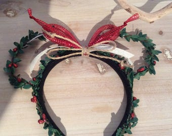 "Natural ""greens"" Christmas Disney/Mickey/Minnie Ears"