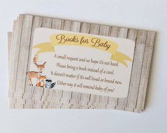 Woodland Book Request, Books for Baby Cards, Baby Shower cards, Gender Neutral HM111