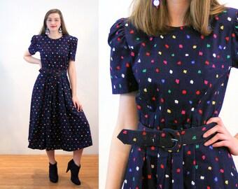 80s Polka Dot Dress M, Navy Blue Dotted Rainbow Print Cotton Retro Talbots 40s Style Vintage 1880s Midi Dress, Medium