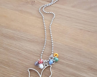 Long ball chain necklace with a butterfly pendant silver plated