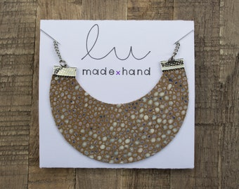 Half Moon Leather Necklace