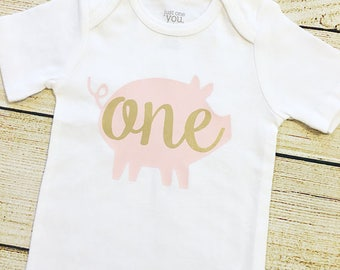 Piggy ONE or TWO| Pig Party | Bodysuit | First, Second  Birthday | Baby Girl | Pink and Gold | Farm | Old Macdonald