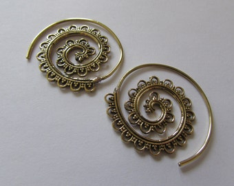 Spiral Brass Earrings, Curls and dots design handmade, Tribal Earrings, Floral Earrings, Gypsy Jewelry,, Gift boxed, Free UK postage BG7