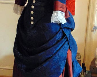 Navy blue Victorian day or evening bustle gown