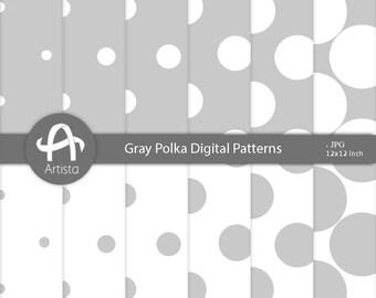 GrayPolka Scrapbooking Patterns Digital Paper Craft Instant Download Digi
